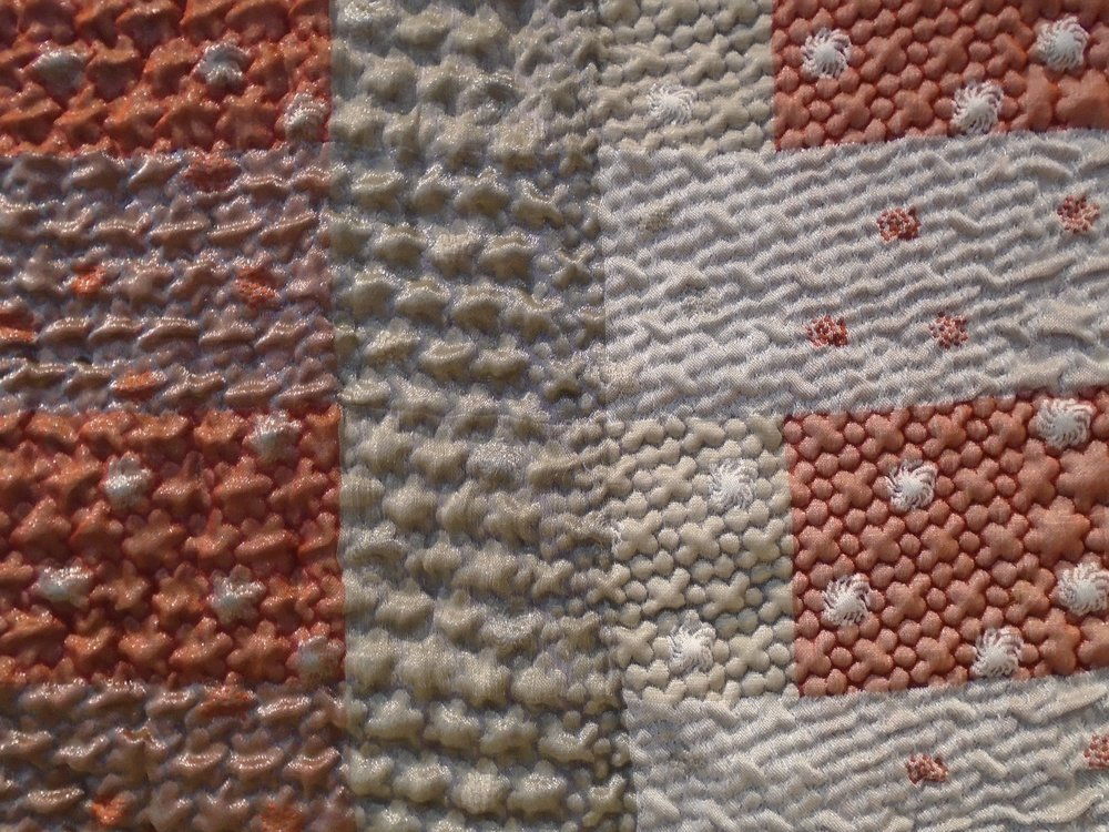 "RUG # 1 (detail of front)  Jaquard Woven, 2017.   30"" x 40"". Monofilament, polyester, elastic, cotton."