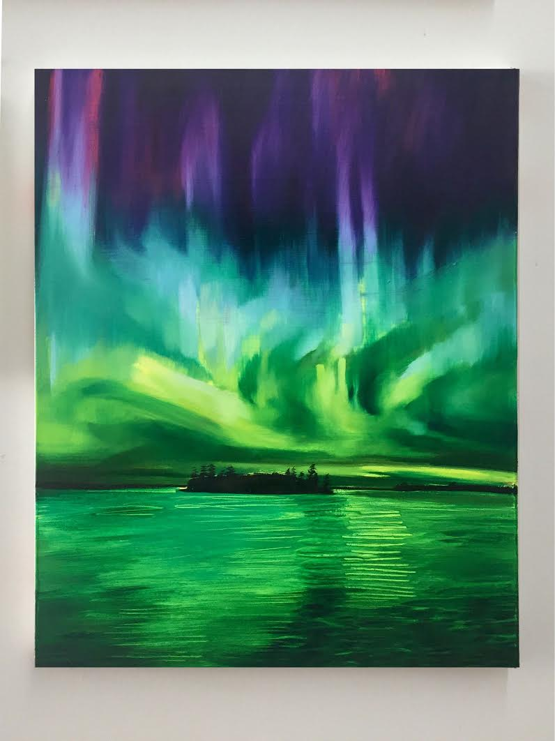 Sam McKinniss,  Aurora Borealis (Study) , 2017    Oil and acrylic on canvas    Image © the artist