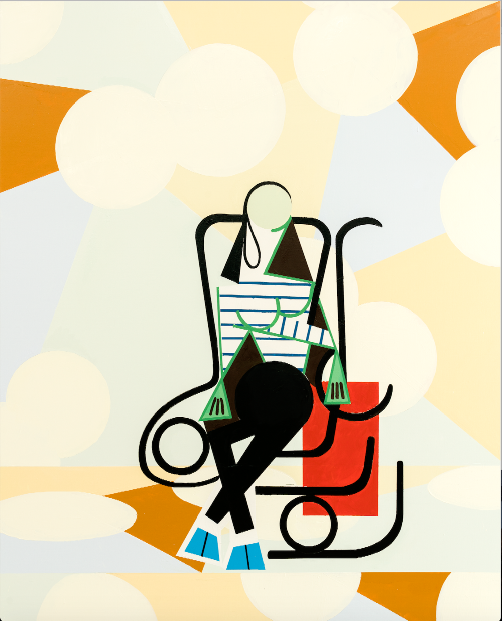 Farah Atassi,  Woman in Rocking Chair,  2017    Oil and enamel on canvas    Image © the artist