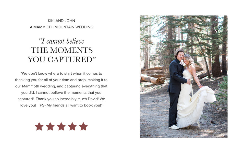 David Manning Photographer Mammoth Wedding Review