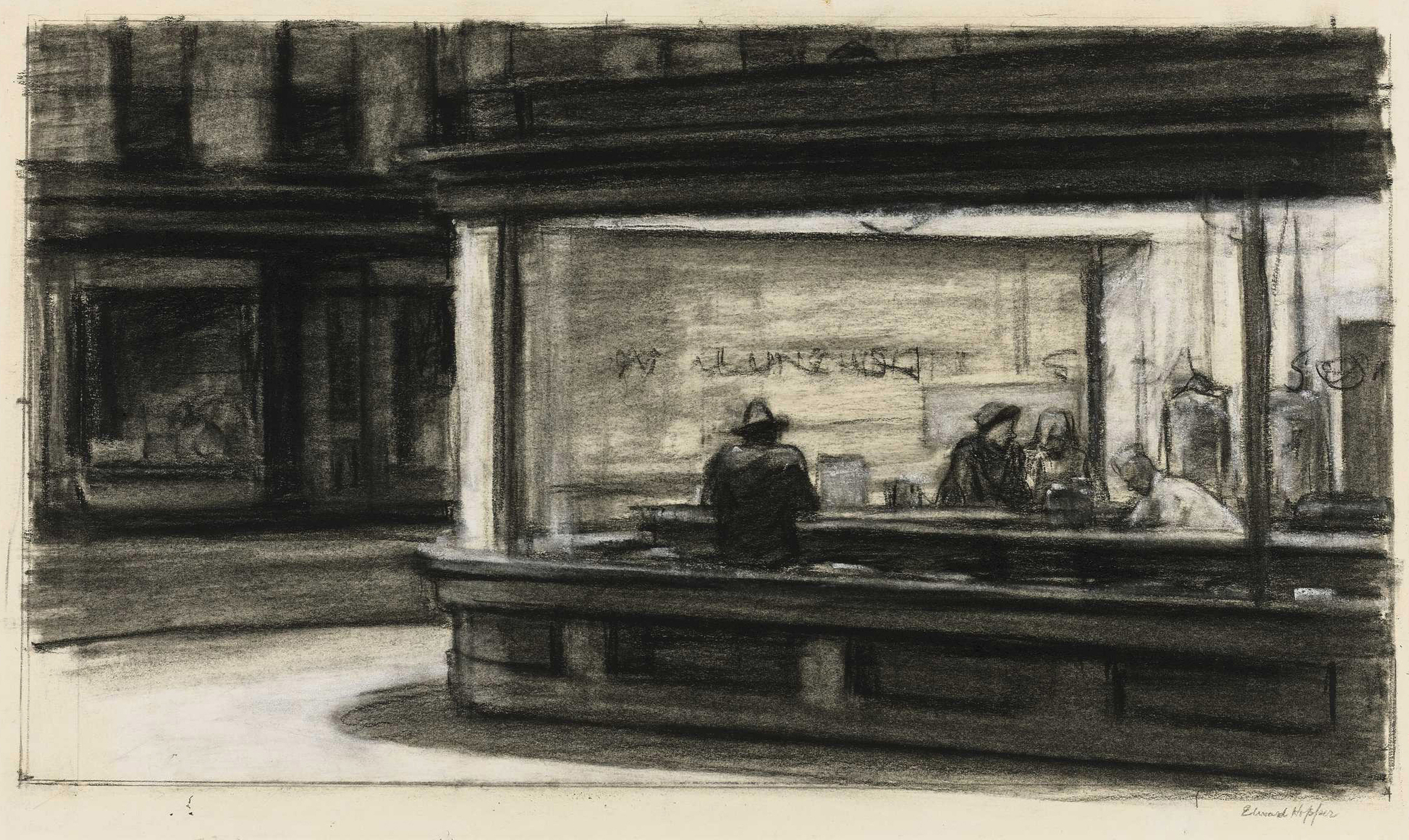 Edward Hopper (1882–1967), Study for Nighthawks, 1941 or 1942. Fabricated chalk and charcoal on paper; 11 1/8 × 15 in. (28.3 × 38.1 cm). Whitney Museum of American Art, New York; purchase and gift of Josephine N. Hopper by exchange