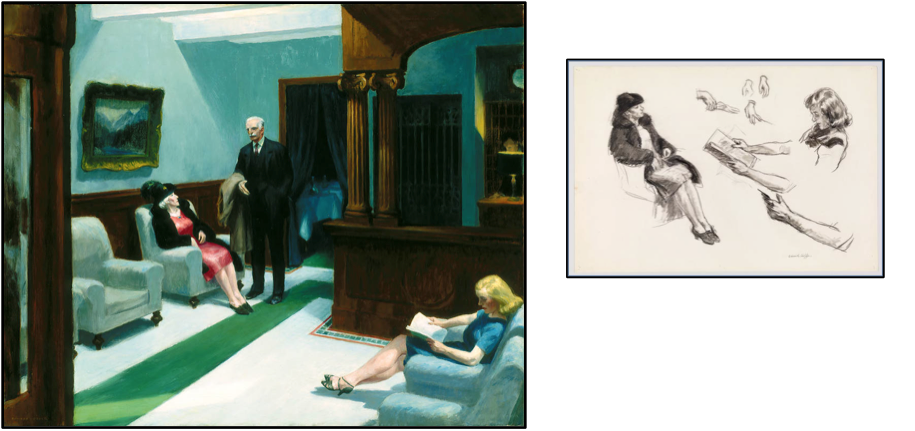 "Edward Hopper, ""Hotel Lobby"", 1943, Oil on canvas, 32 x 40"", Indianapolis Museum of Art, William Ray Adams Memorial Collection"