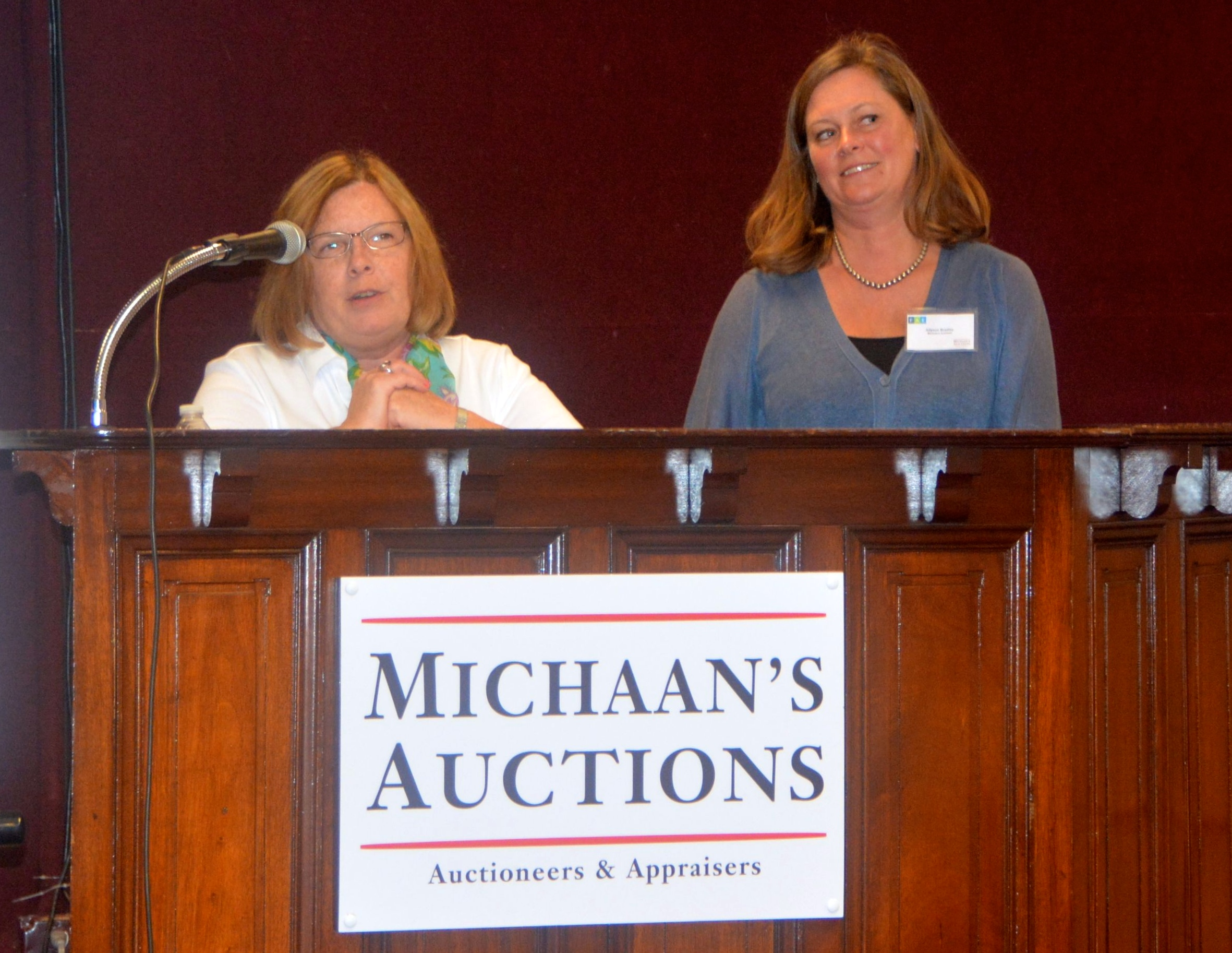Maureen Winer, President of FAE. with Allyson Bradley of Michaan's Auctions