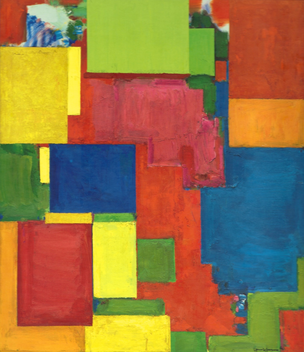 "Partial view of ""Simplex Munditis"" by Hans Hofmann, 1962. Cover image for volume III of the CR"