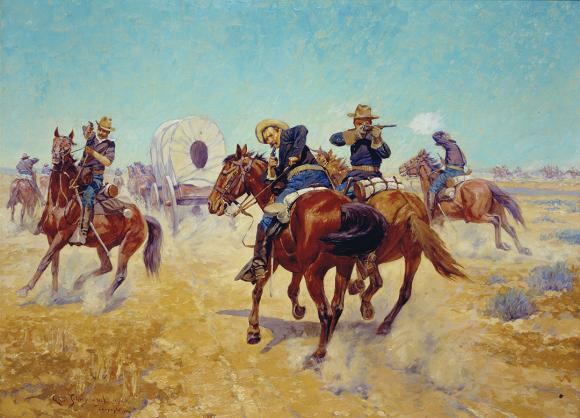 """Protecting the Emigrants, 1906"" Charles Schreyvogel, Rees-Jones Collection"