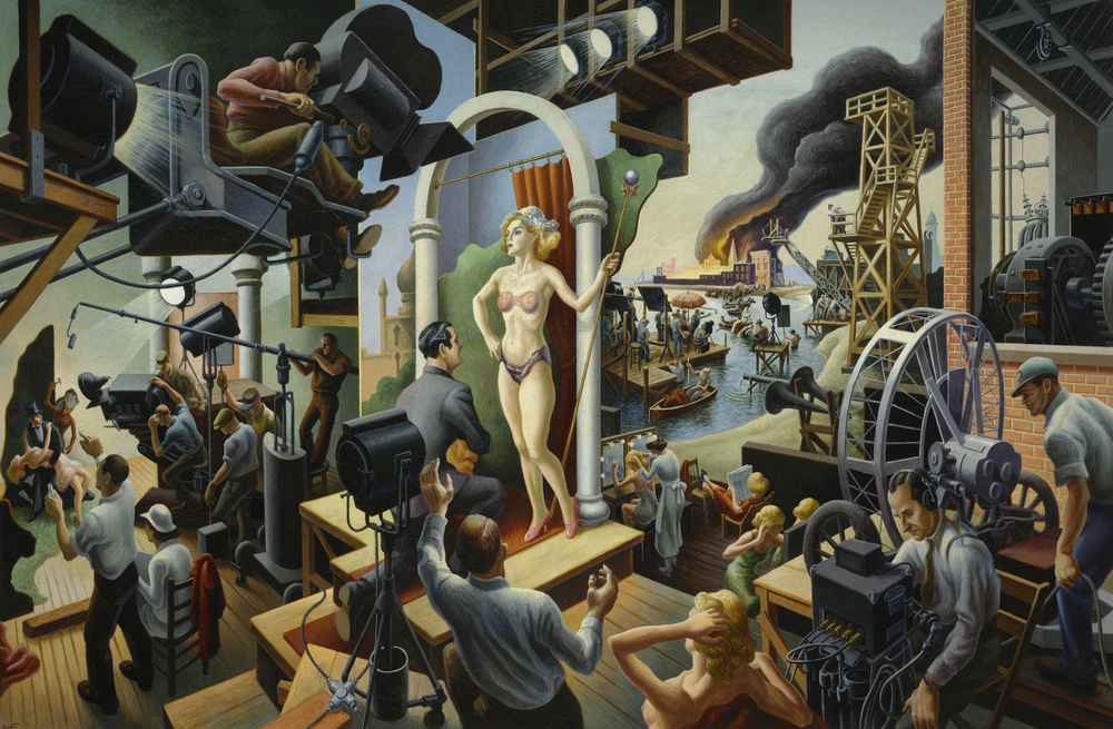 """Hollywood,"" 1937–38, Tempera with oil on canvas, mounted on panel, 56 x 84"" The Nelson-Atkins Museum of Art, Kansas City, Missouri"