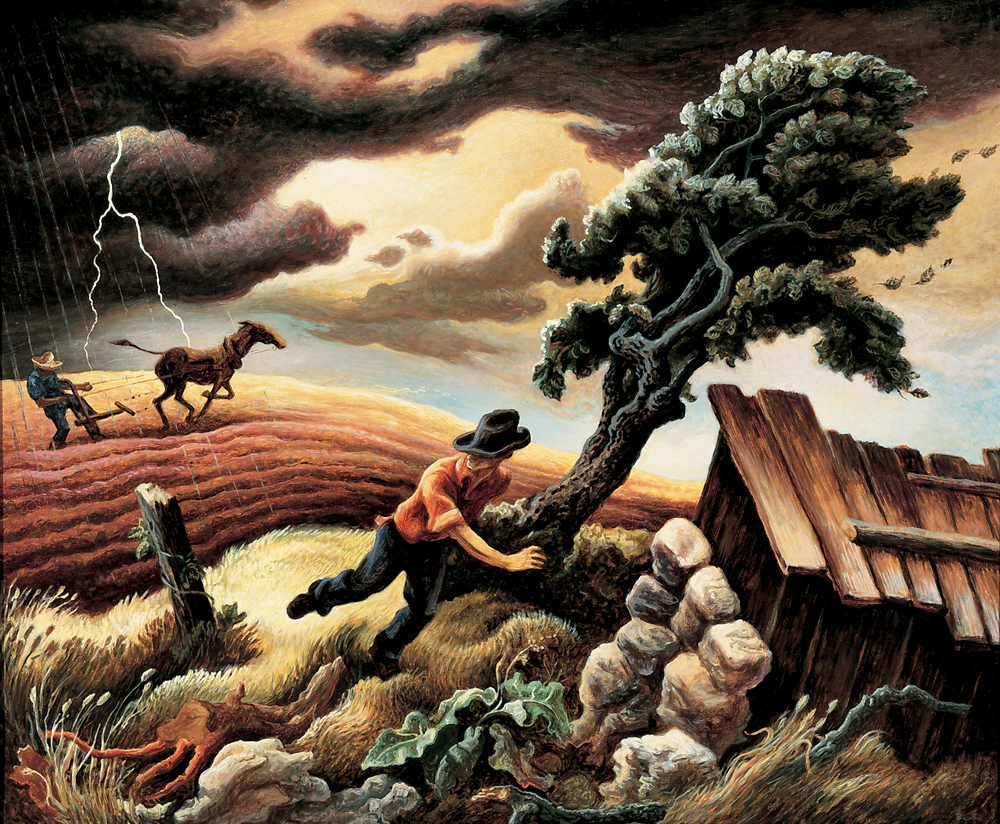 """The Hailstorm,"" Tempera on canvas mounted on panel, 33 x 40""  Joslyn Art Museum, Omaha, Nebraska *This painting not shown in exhibition, depicted here to illustrate Benton's regionalist style"