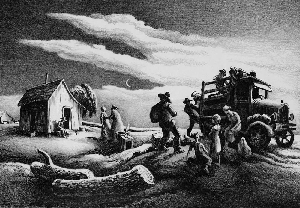 """Departure of the Joads. (The Grapes of Wrath Series),"" 1939, lithograph, edition of 100, 12.75 x 18.25"""