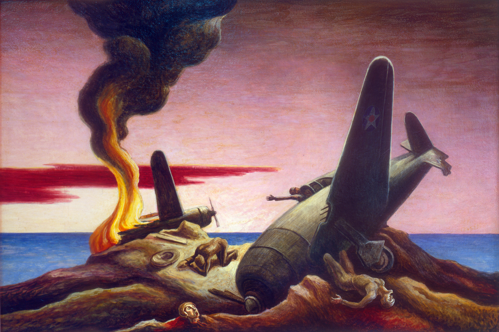 """Indifference, Year of Peril,"" 1944, Oil on canvas, 21 x 31"" State Historical Society of Missouri, Columbia"
