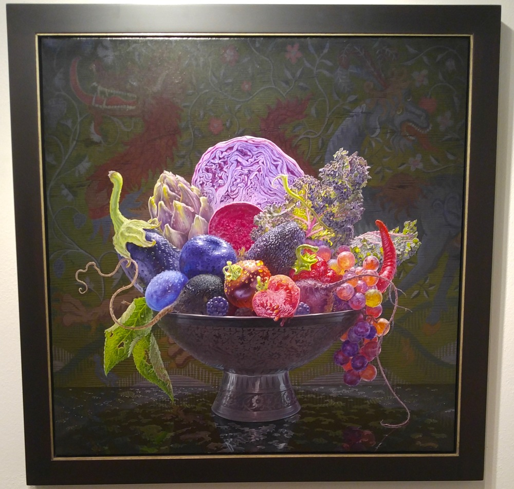 """Still Life with Medieval Tapestry"" by Eric West of Gallery Henoch, Oil on panel, 36 x 36"""