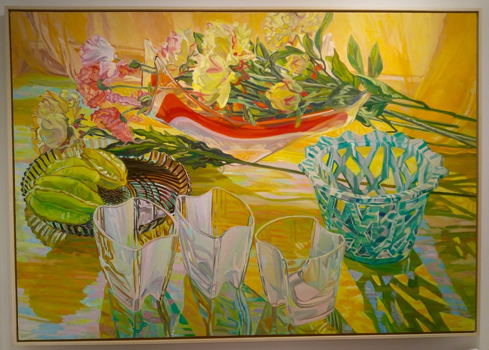 "DC Moore Gallery of New York had this 42 x 60"" oil on linen by Janet Fish on display"