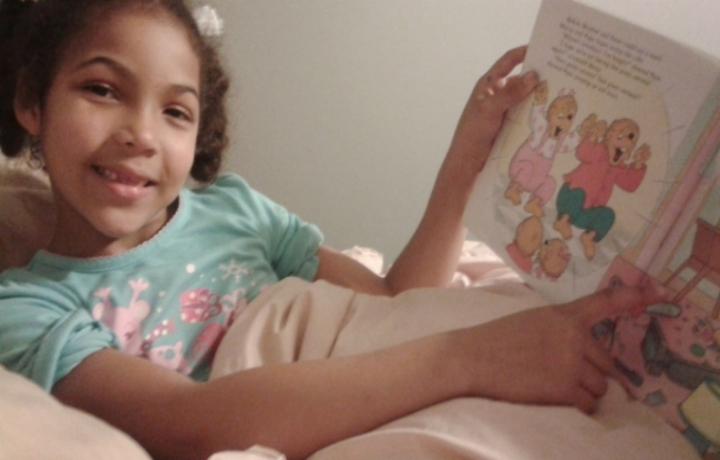 Arielle chose some of her favorite books to read together while under the covers.