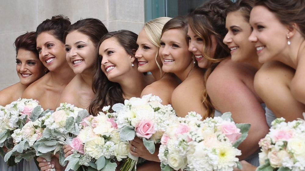 bridesmaids-grey-blue-dress-bouquets-smile-dubuque-may-wedding