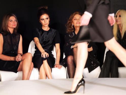 Fashion week with Natalie Massenet, Diane von Furstenburg and Donatella Versace. (photo - Rex Features)
