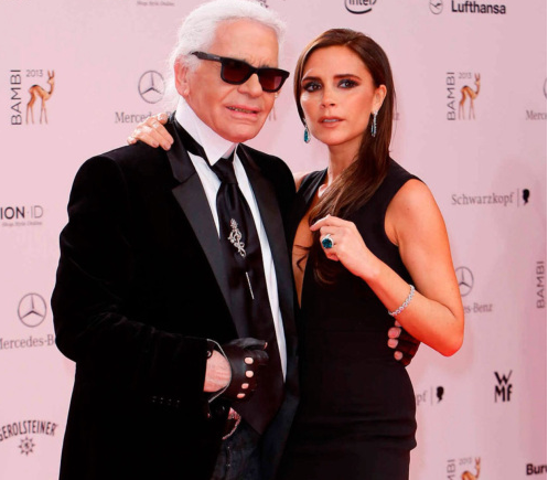 Victoria posed with Karl Lagerfeld for a photoshoot for French Elle at legendary designer Coco Chanel's home. Here she appears with Karl at Mercedes Benz Fashion Week.