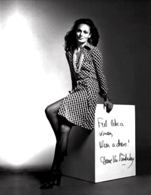Diane modelling the iconic wrap dress.