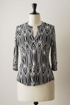 J4571 Brookland Blouse in Reigning Diamonds. $109.