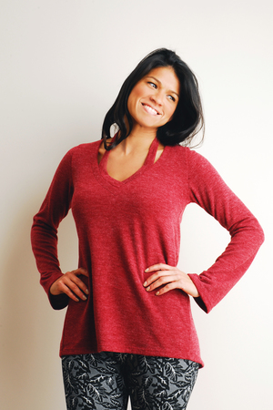 J3377 Detached Collar Sweater in Pomegranate.  $118.