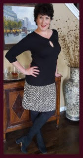 "Monica wearing KOKOON's ""Board Room Pencil Skirt"" in Truffle"