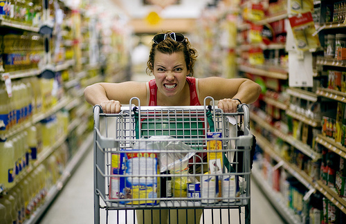 crazy excited grocery shopping woman