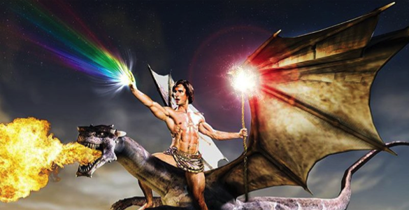 man riding fire breathing dragon rainbow unicorn