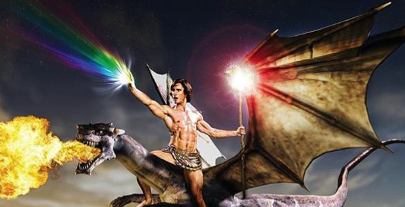 man riding fire breathing dragon rainbow unicorn
