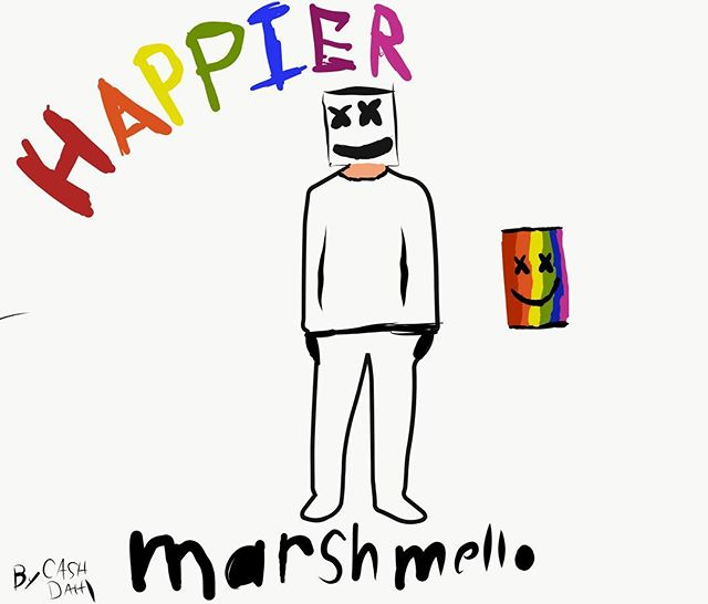 "My 9 year old son Cash drew this freehand with his @apple pencil. He would love for @marshmellomusic to see it because he thinks it will ""make him happier."" 😁❤️🌈 @theellenshow"