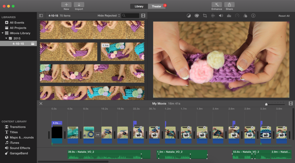 Screenshot of editing an upcoming video on making a baby headband.