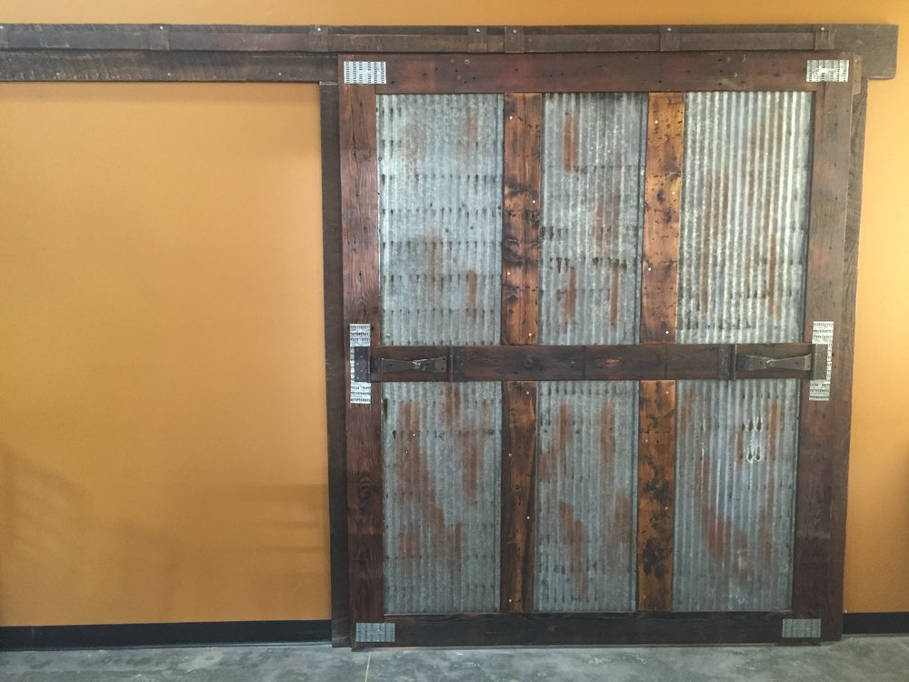 Reclaimed Barn Door With Track And Rollers