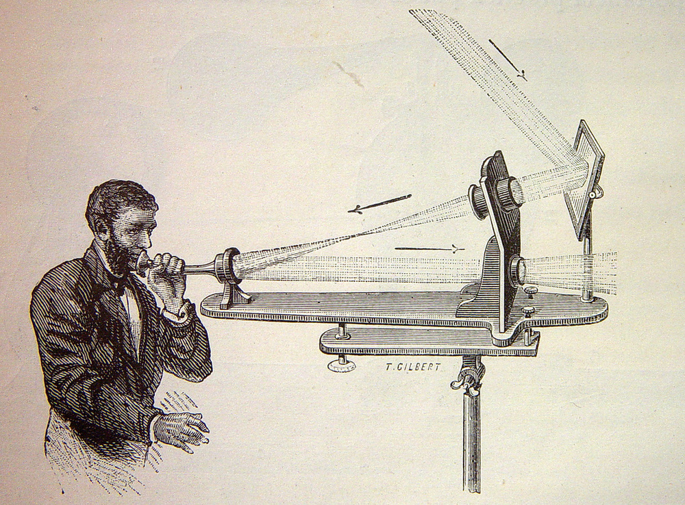 Illustration of a photophone transmitter, showing the path of reflected sunlight, before and after being modulated (https://en.wikipedia.org/wiki/Photophone)