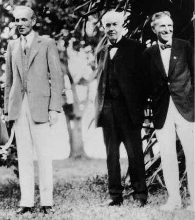 A photograph of Henry Ford, Thomas Alva Edison, and Harvey Samuel Firestone- the fathers of modernity.
