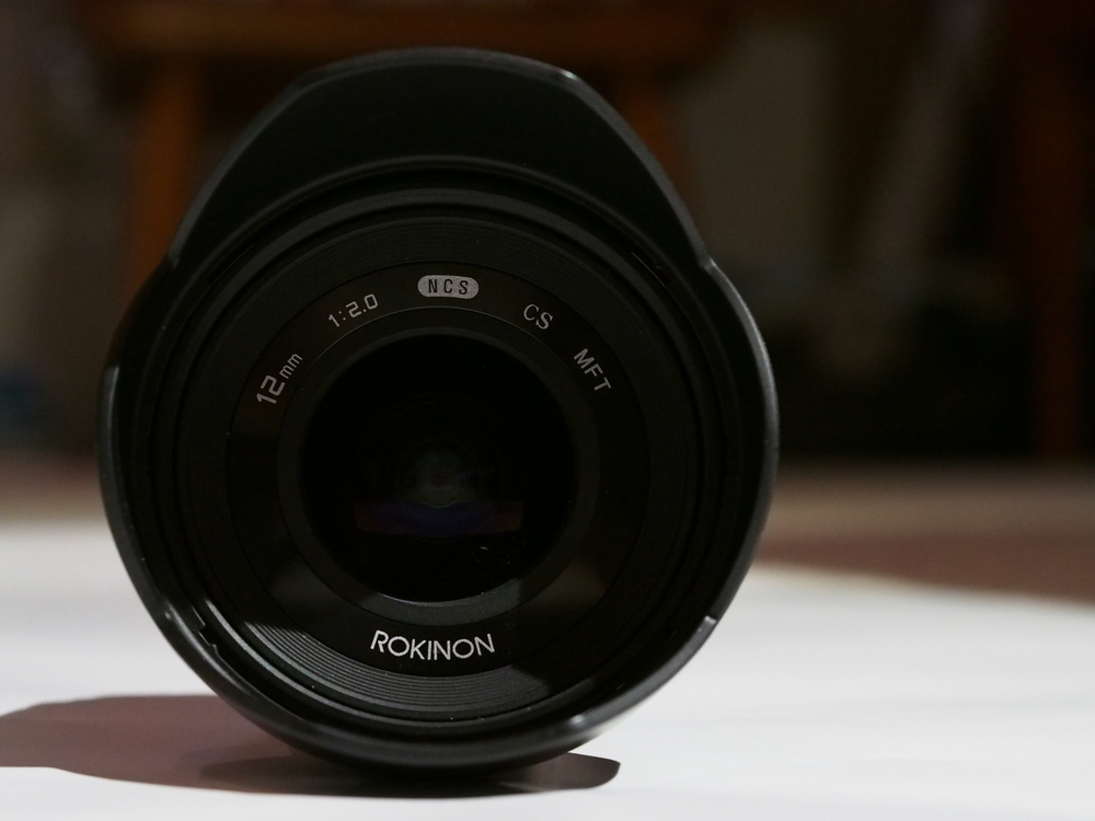 The front element of the Rokinon 12mm.