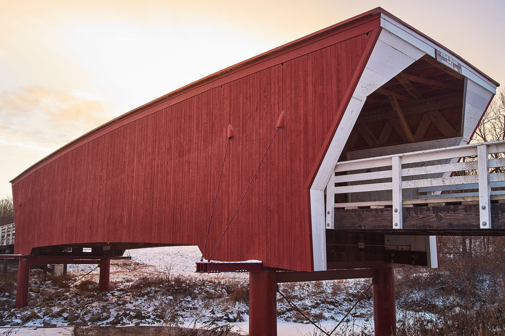 The subject of a photo should be obvious like this red covered bridge.