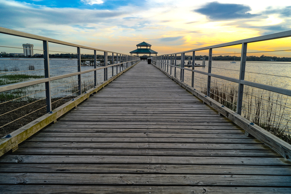 Looking down the Pier, you can see the effects of a wide-angle lens distorting perspective.