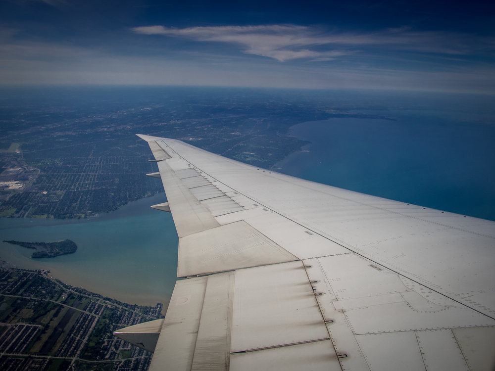 Taking off from Detroit, I had this view over the wing.