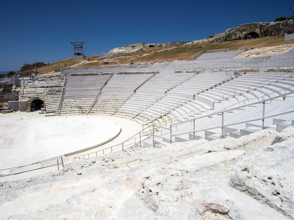 The Greek theater is not a place to hang out around for very long during the summer. The heat is unbearable along with the humidity and the sun literally being brighter as the white rock reflects it all. It is the most uncomfortable I have been inSicily all summer.