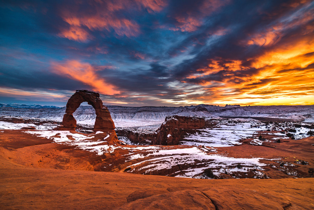 A wide image of Delicate Arch during a snowfall I still really like.