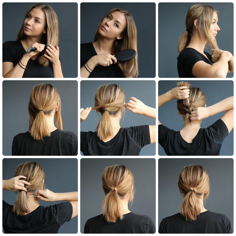 """Sometimes I find it hard to style shorter hair, and I always get askedabout that. This is a great idea that is super easy and works on most hair types.  Put the hair behind your ears in a low ponytail and secure using anelastic. You'll leave both sections from the front/sides out. If your hair is really thick , be careful not to use too big sections from the front, as they will be harder to conceal.  Take both side sections and twist them into a half knot.  Now take those two pieces and wrap them around the ponytail and under.  Use small/strong bobby pins to secure the remaining pieces under the ponytail. We kind of """"stuffed"""" the longer bits up underneath the base of the ponytail before bobby pinning.  For this look I used the smallest ghd curling wand to make the style a little more messy. But this works great with straight hair as well. If you choose to leave it straight its important to be more careful when making the ponytail as it will look better with less fly aways.  Finish off with hair spray.    Styling: Maja Marikken  Photo: Kristina Cronfelt Aasen  Model: Maja Marikken"""