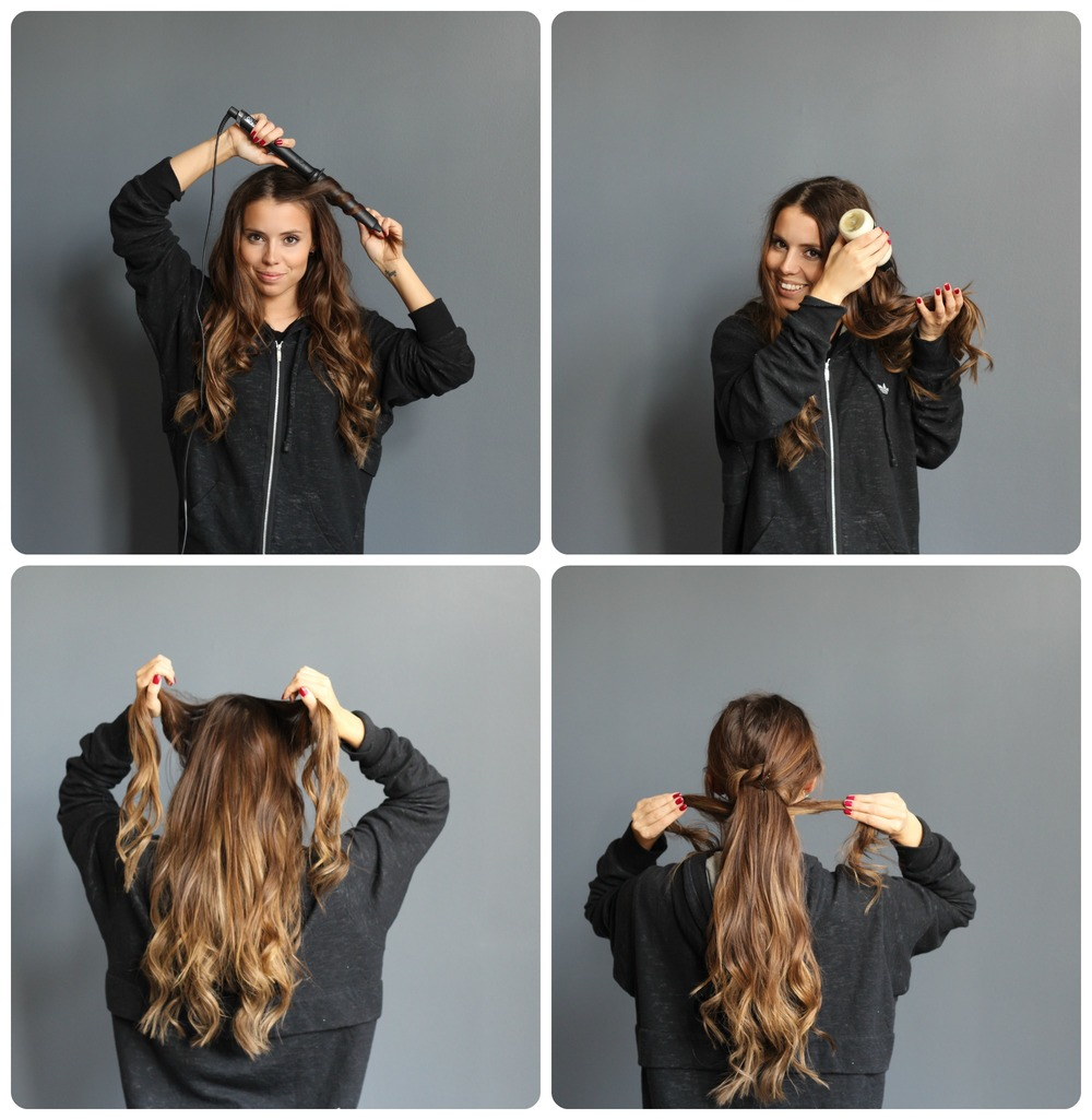 1. Start by curling your hair. It doesn't have to be perfect curls, its better if they are a little messy so curl both inwards and outwards.   2. Use a volume powder or dry shampoo in the lengths of the hair.  3. Start by taking to small sections from the front and tie them around the rest of the hair , secure with a bobby pin underneath.   4. continue twisting these sections around the hair with a little space between each twist.