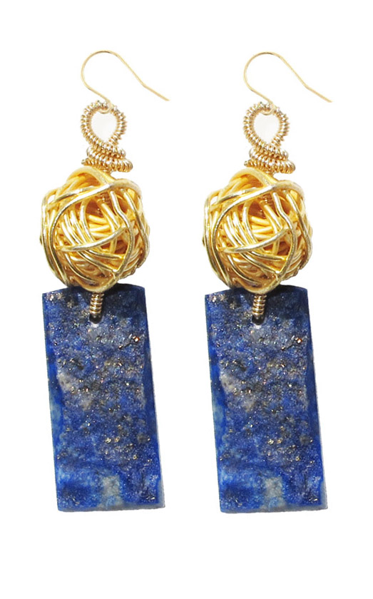 LAPIS LAZULI DRUZY AND GOLD FILLED SLAB EARRINGS