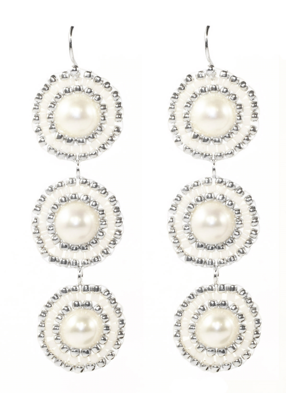HAND WOVEN WHITE FRESHWATER PEARLS AND SILVER MEDALLION EARRINGS