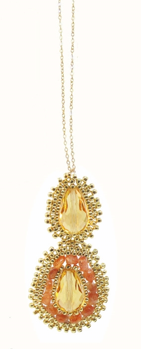 Hand Woven Gold, Sunstone and Crystal Medallion Dainty Necklace