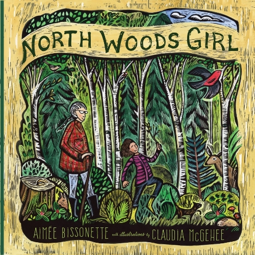 "The Northwoods Girl cover idea was of the two main characters ""parading"" through the woods. It lent itself nicely to the format. I wanted to bring in the rustic feel of birch trees (so special to this area), and so by framing the main image in faux wood-bark, this special location detail was worked in."