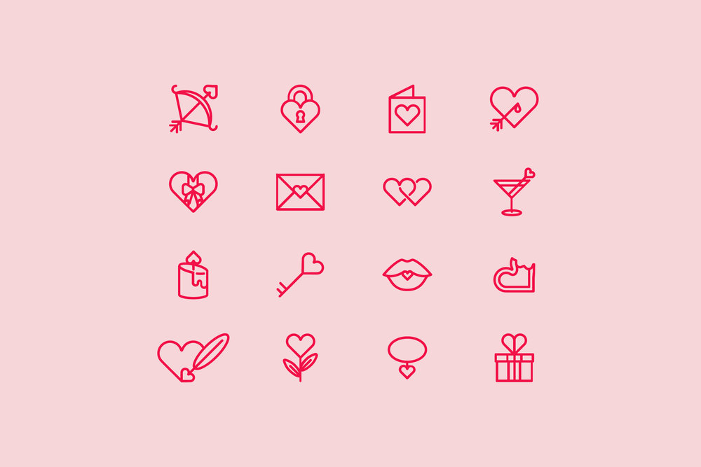 Valentine's Day Icons - Outline