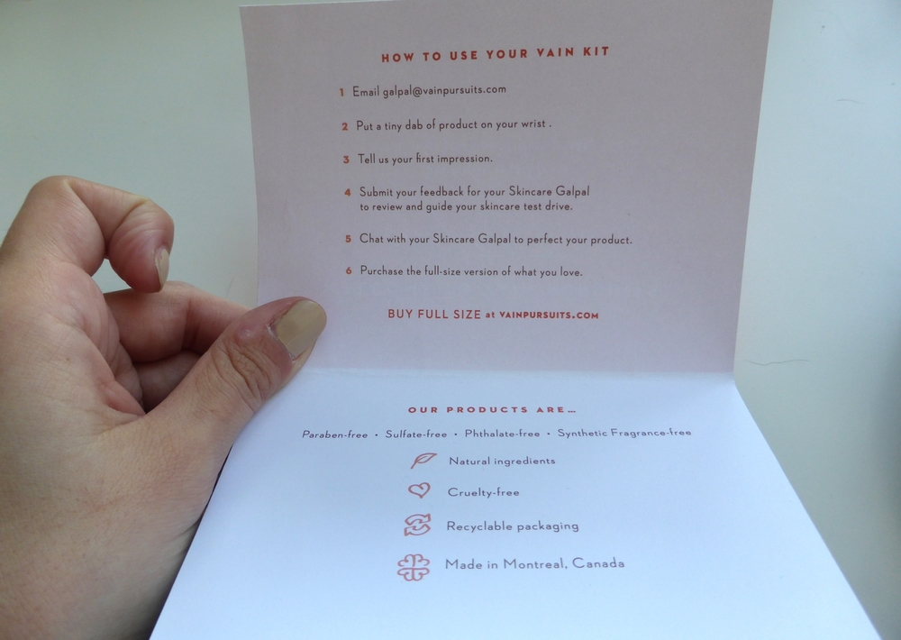 Vain Pursuits Custom Skincare - How to use your Vain kit - Made in Montreal