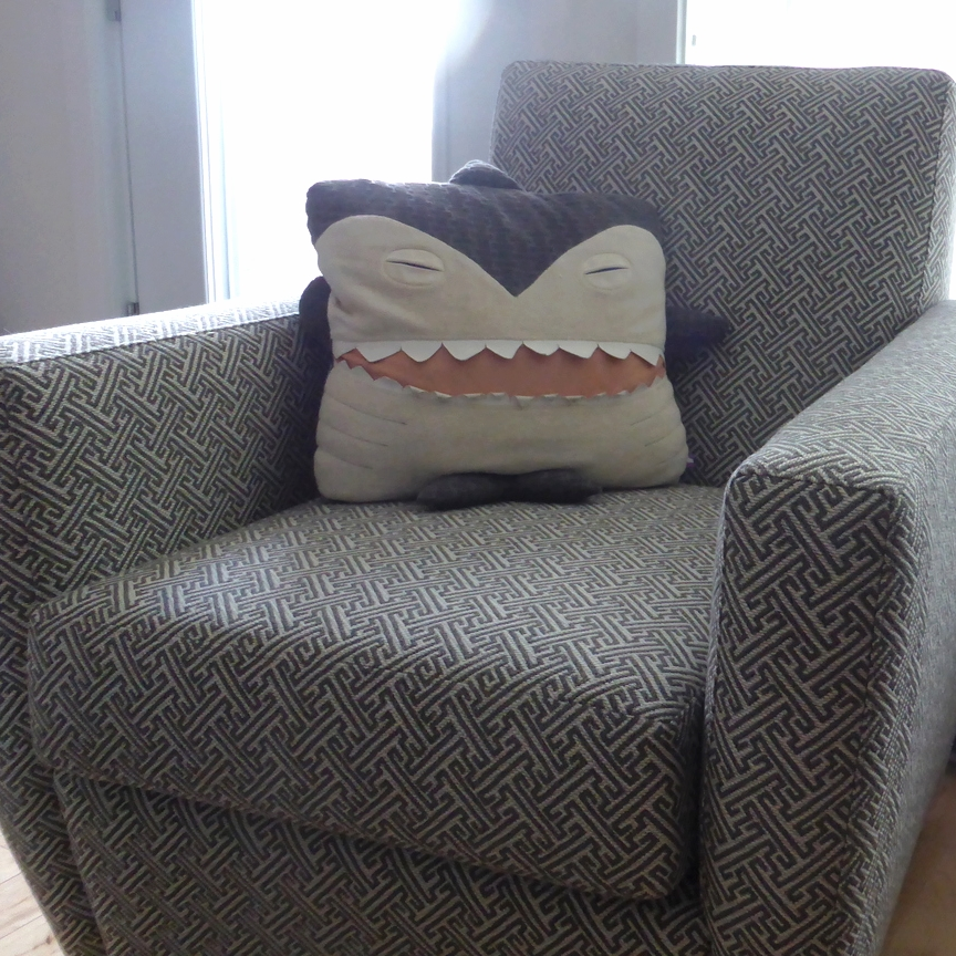 Velvet Moustache - Shark Pillow - Coussin Requin - Made in Montreal - Montreal Etsy Sellers