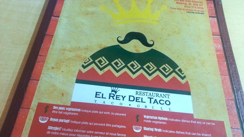 El rey del taco - menu - authentic mexican cuisine - mexican food - mexican restaurant montreal - my girl montreal