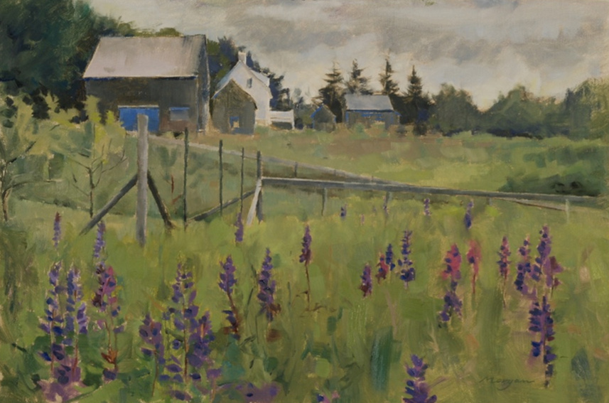 """Barns with Lupine   Oil on Linen, 12"""" x 18"""""""