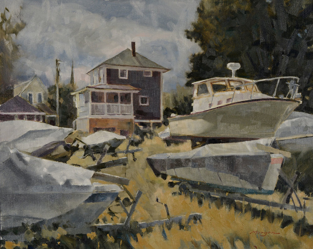 """Above the Boatyard   Oil on Linen, 16"""" x 20"""""""