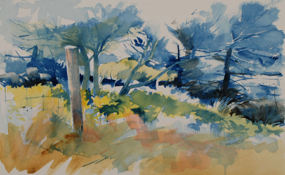 """Fence Post and Shadows   Watercolor, 13"""" x 19"""""""
